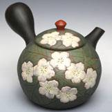 Hand-made Tokonameyaki Teapot by Motozo, Whole Sakura Carving Kyusu