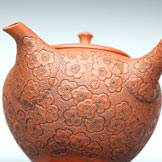 Ume(Plum) Flower Carved by Shun-en, 170cc, Japanese Hand-made Teapot, Luxury Teapot