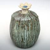 Green Flower Vase with Flower Lid, Hand-Made by Emi Masuda, Free Shipping from Japan