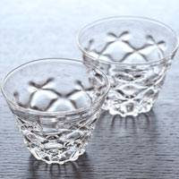 "Two Teacups, Made of Heat Resistance Glass, ""Diamond"" Glass Cup 40ml, Made by Ryuta Mizukami"