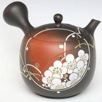 Plum Carved Kinsai Teapot Pure Hand-made by Munenori 200ml, Premium Gyokuroch/Sencha Kyusu