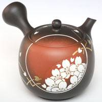 Sakura Carved Kinsai Teapot Pure Hand-made by Munenori 230ml, Premium Gyokuroch/Sencha Kyusu