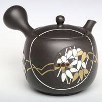 Bamboo Carved Sencha Kyusu, Pottery Green Tea Japenese Premium Teapot, Hand-made by Munenori 210ml