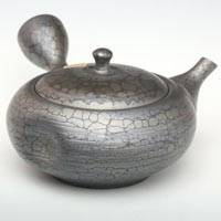 Flat Type with Dimple Sencha Kyuau, Pottery Japanese Teapot 210ml,Pure Hand-made by Shoryu