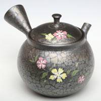 Dianthus Pattern Kyusu, Pottery Japanese Teapot 250ml,Pure Hand-made Tokonameyaki Teapot by Shoryu