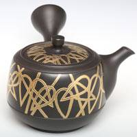 Gold Bamboo Carved Sencha Kyusu, Japanese Tea Teapot Toyonameyaki Pure Hand-made by Munenori 260ml