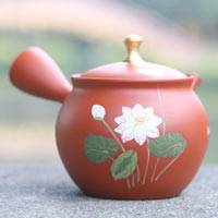 Gold Tsumami Shudei Lotus,Hand-made Tokonameyaki Teapot by Shoryu