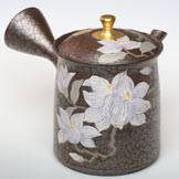 Hand-made Tokonameyaki Teapot by Shoryu, 240ml Tenmoku with Clematis, Made in Japan