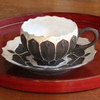 Black and Silver Lotus Coffee Cup and Saucer, Pure Hand-made by Taketoshi Itoh, Teacup
