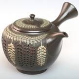 Wisteria Pattern Kyusu, Pure Hand-Made and Carved by Shun-en 320cc, High Class Japanese Style Teapot