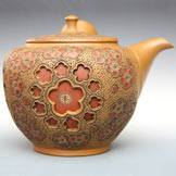 Ume(Plum) Pattern Kyusu, Pure Hand-Made and Carved by Shun-en 300cc, Premium Sencha Teapot