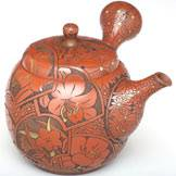 Premium Japanese Kyusu, Flowers in Fan Frame Entire Carving Teapot, Pure Hand-made by Munenori