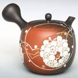 Plum Flower Pattern with Gold Painting Hand-made by Munenori, Premium Sencha Kyusu, Japanese Teapot
