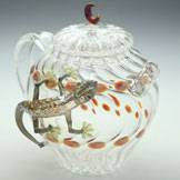 Heat Resistance Glass Teapot with Gecko 470cc,  Pure Hand-Made by Ryuta Mizukami
