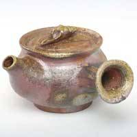 Bizenyaki Wood Fired Shell Tsumami Kyusu 130ml, Gyokurocha Kyusu, Pure Hand-made by Teruhiko Omori