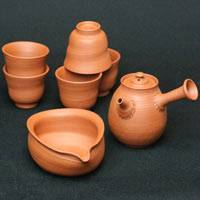 Japanese Tokonameyaki Red Clay Teapot, Cup Set, Pure Hand-Made by So Yamada