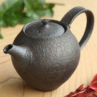 Black Crack Pattern Small Teapot, Gyokuro Kyusu, Chinese Tea Teapot, Hand-made by Shinobu Hashimoto