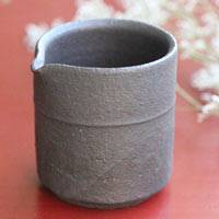 Pottery Black Small Water Cooler, Yuzamashi 100cc, Pure Hand-made by Shinobu Hashimoto