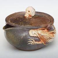 Bizenyaki Dragon-Skull Wood-fired Pottery Houhin 130ml, Pure Hand-made by Teruhiko Omori, Gaiwan