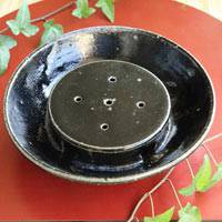 ​Black-iron Glazed Pottery Tea Tray, Hand-made by Koichi Ohara, Free Shipping