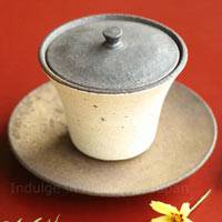 White Gaiwan, Pure Hand-made by Shinobu Hashimoto, Ceramic Teacup 130ml, Pottery Teaware