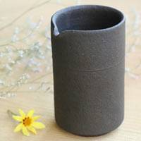 Pottery Black Tall Water Cooler, Yuzamashi 190cc, Pure Hand-made by Shinobu Hashimoto, Free Shipping