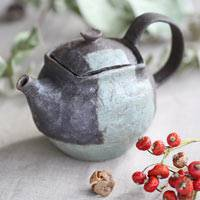 Blue Line Teapot, Coffee Pot 430ml, Pure Hand-Made by Emi Masuda, Made in Japan, Earthenware Teapot