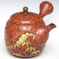 Premium Tokonameyaki Sencha Kyusu 310ml, Whole Body Flower Carved Teapot Pure Hand-made by Munenori