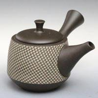 Hand-made by Shuho(deceased),  White Cloth-textured Kyusu 300cc, Japanese Tokonameyaki Kyusu