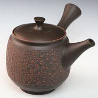 Hand-made Tokonameyaki Teapot by Shuho,  Red Cloth-textured Kyusu 390cc