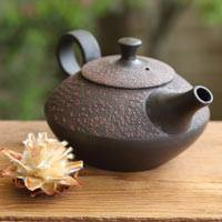 Hand-made by Shuho,  Red Cloth-textured Teapot 250cc Back-hand Type, Japanese Tokonameyaki