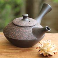 Hand-made by Shuho,  Red Cloth-textured Kyusu 230cc, Japanese Tokonameyaki Kyusu