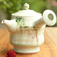 Pure Hand-made Green Tea Teapot, Ceramic Teapot 280cc, Made by Sho Kumamoto
