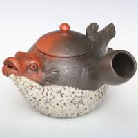 Pottery Fugu (Blow Fish) Shape Tokonameyaki Japanese Green Tea Teapot, Hand-made by Motozo 290ml