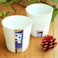 Mosaic Cup Set (Two Cups) 70ml, Pure Hand-made by Mayuki Kato, Free Shipping, Guinomi