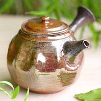 Premium Wood-fired Kyusu 220cc, Pure Hand-Made by Yohei Konishi, Pottery Anagama Teapot