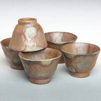 Bizenyaki Wood-fired Cup Set 70ml,  Hand-made by Teruhiko Omori, Pottery Teacup