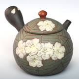 Sakura Pattern Whole Carved Kyusu, Pure Hand-made Premium Tokonameyaki Teapot by Motozo,190ml