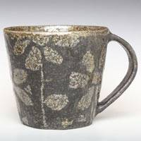 Flower-pattern Black Coffee Cup, Ceramic Teacup, Pure Hand-made by Emi Masuda, Free Shipping