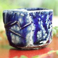 Salt Glazing Cup 80ml, Pottery Tea Cup, Pure Hand-made by Takeshi Shimizu, Japanese Sake Cup