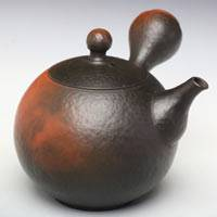 Black-Red Sphere Shape Kyusu 180ml, Youhen Maru Teapot, Pure Hand-made by Yoshiki Murata