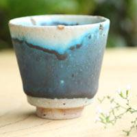 Blue Pottery Cup, 70cc Gyokurocha Cup, Sencha Cup, Pure Hand-Made by So Yamada