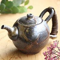 Japanese Igayaki Wood-fired Teapot 610ml, Green Tea Teapot, Hand-made by Manabu Minamide