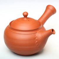 Japanese Tokonameyaki red-clay sujihiki teapot, sencha kyusu 300ml, hand-made by Setsudo