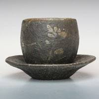 Pottery Flower-pattern Black Tea Cup S-size, Yunomi, Pure Hand-made by Emi Masuda