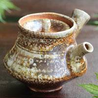 Wood-fired youhen pottery green tea teapot 290ml, sencha kyusu, Igayaki pottery artist Kenji Kojima