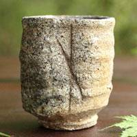 Japanese Igayaki Pottery Aritst, Takashi Tanimoto,  Wood-fired Youhen Tea Cup 220ml, Japanese Yunomi