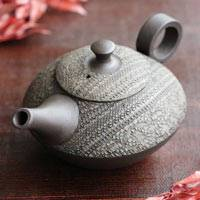 Hand-made by Shuho(deceased),  Cloth-textured Teapot 250cc Back-hand Type, Japanese Tokonameyaki