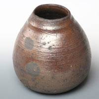 Koichi Ohara, anagama wood-fired non-glazed pottery flower vase, direct shipping from Japan