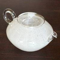 Hand-made Teapot Powder Snow 190ml Made of Heat-resisitance Glass, Ryuta Mizukami, Gyokurocha Kyusu